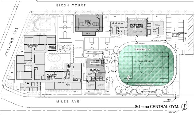 PROPOSED SITE PLAN, OPTION 2: In this plan, a new gym with standard middle school size basketball court would be built next to the old gym, and the old gym would be converted into a performing arts space and music room. The existing music room and adjacent book storage room would be converted into a school kitchen and cafeteria, and