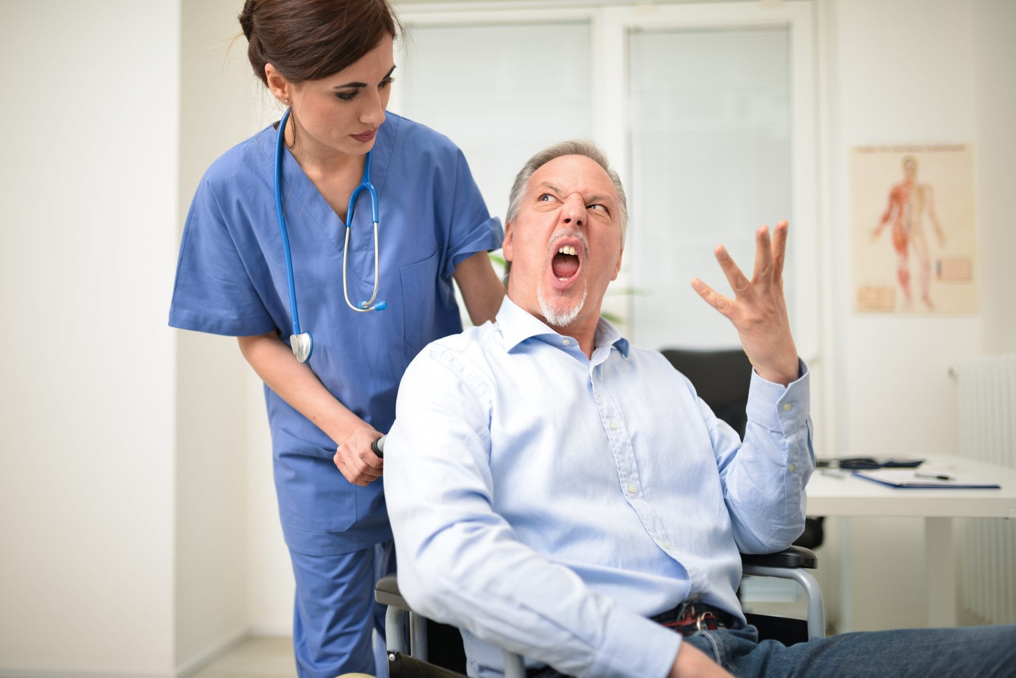 Angry disabled patient